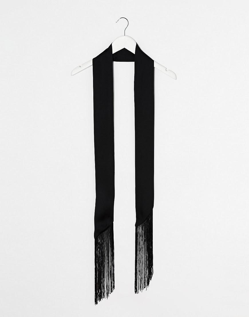 Image 2 ofASOS Long Skinny Scarf In Black With Fringing