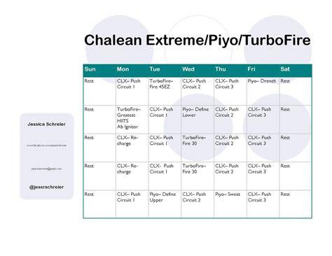 chalean extremeturbofirepiyo hybrid schedule fitness