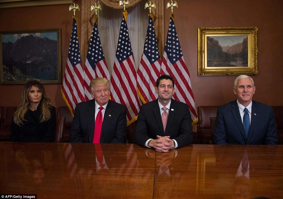 "Ryan says he and President-elect Donald Trump had a ""fantastic, productive meeting"" at the Capitol. Trump called the meeting 'an honor', adding that he thought they were 'going to do some absolutely spectacular things for the American people'"