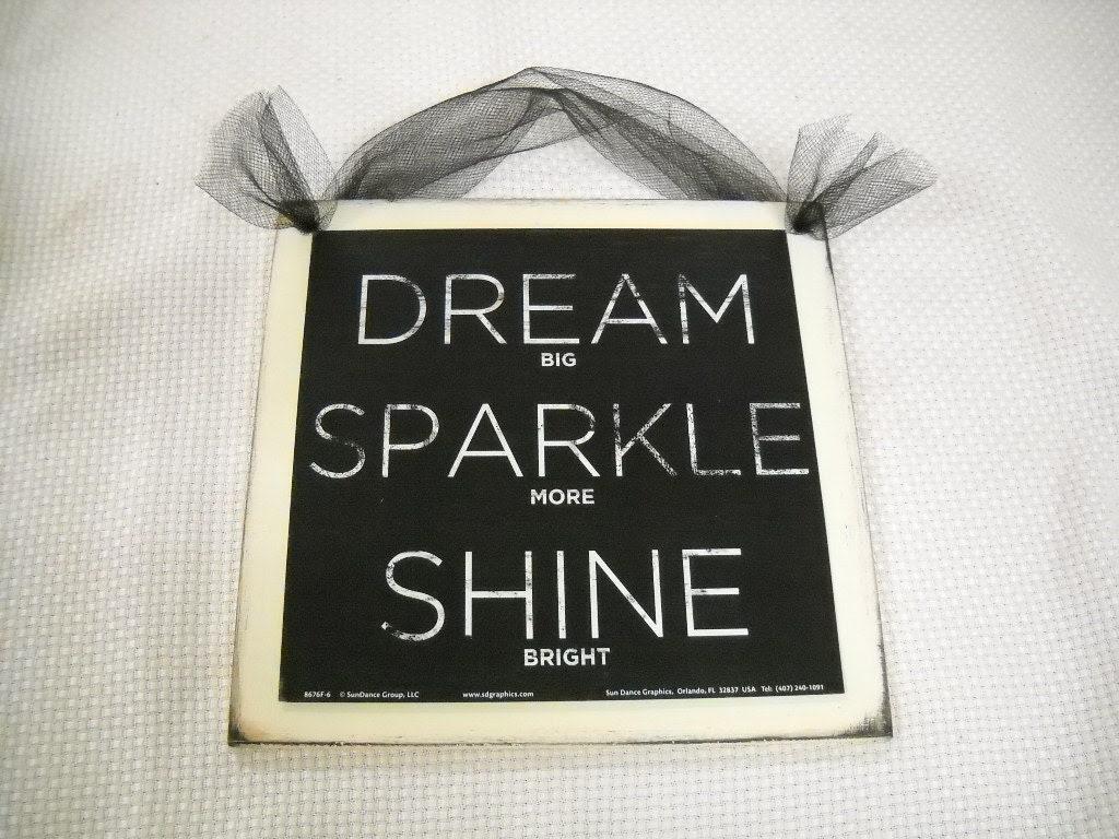 Dream Sparkle Shine Wooden Wall Art Sign Teen Girls by melimarlatt