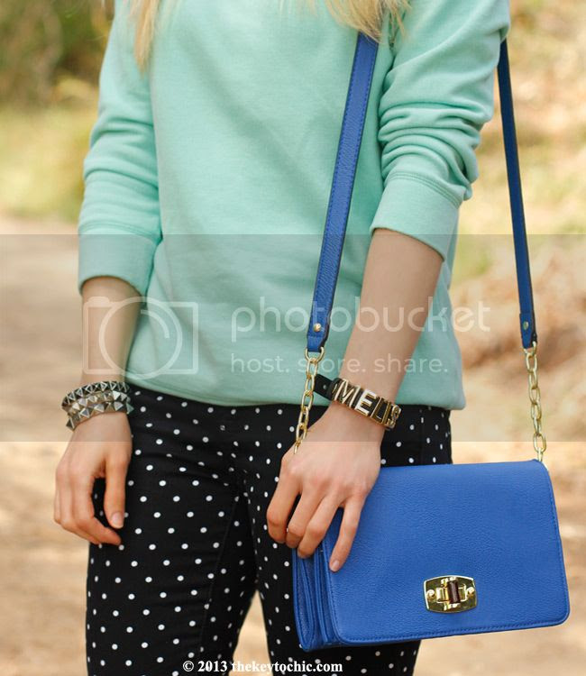polka dot JCP jeans, Merona blue turnkey crossbody handbag