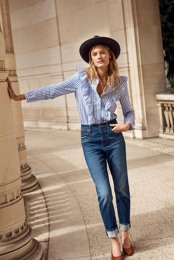Le Fashion  Blog  Must  Have  Striped  Ruffled  Blue  Blouse  Via  Madewell