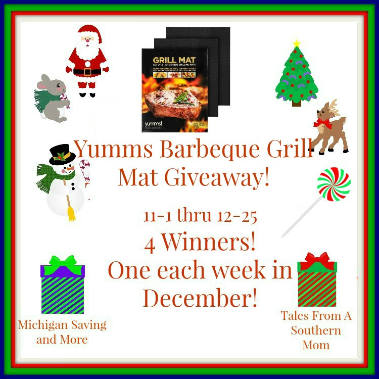 Enter the Yumms! Barbecue Grill Mat Giveaway. Ends 12/25