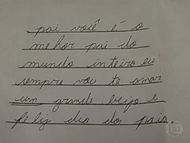 Carta escrita por Marcelo para o pai em 2012 (Foto: Reprodução/TV Globo)