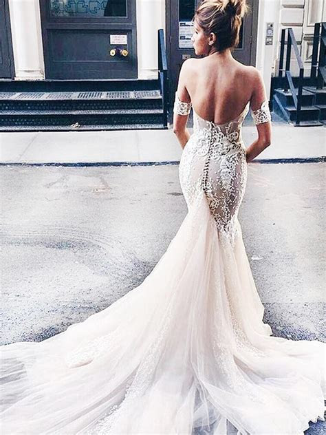 Stylish Sweetheart Watteau Train Mermaid Wedding Dress