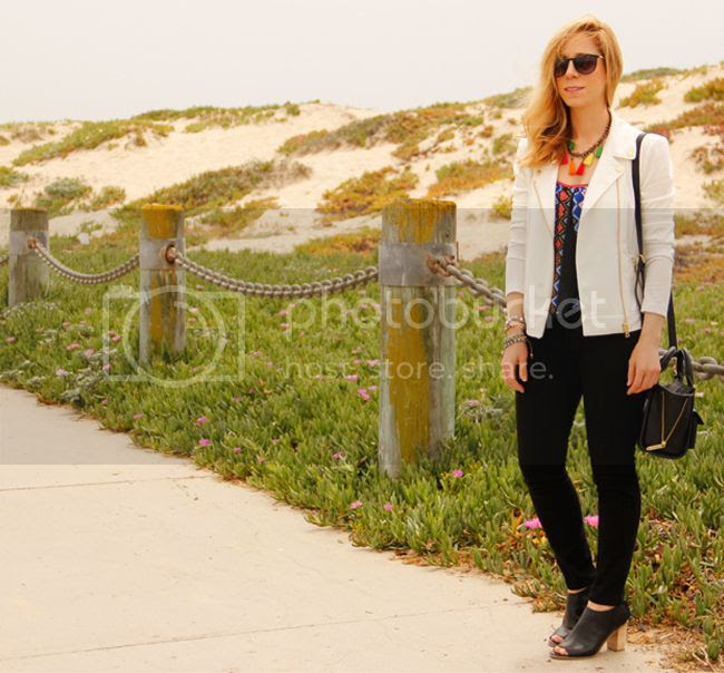 LA fashion blogger The Key To Chic wears a Peter Som for Kohl's moto jacket, Xhilaration tribal top, J Brand Jeans, and Mossimo Kacie boots