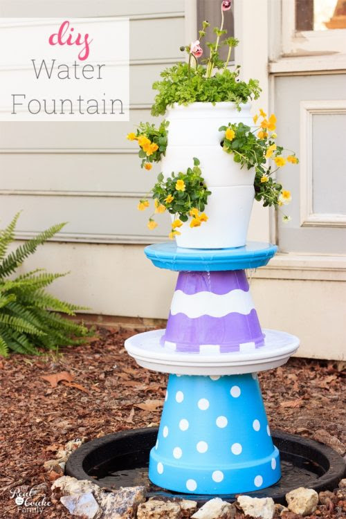 The Real Thing With The Coake Family Colorful and Whimsical DIY Water-Fountain Adding a water feature to your yard adds a pretty water sound and with this one pretty colors