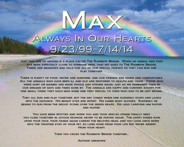 Pet Memorial Personalized For Pet Dog Or Cat Rainbow Bridge Poem Memor