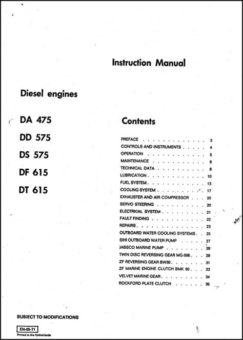 DAF DA 475 diesel engine Instruction - MARINE DIESEL BASICS