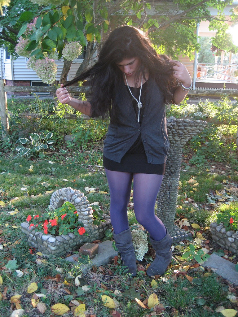 Grey Cardigan, Black top, Purple Tights, Grey Boots