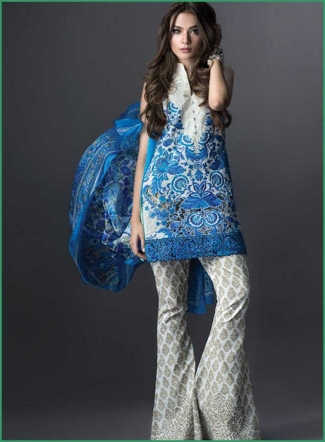 embroidered and stylish eid dresses 2016 lawn  top pakistan