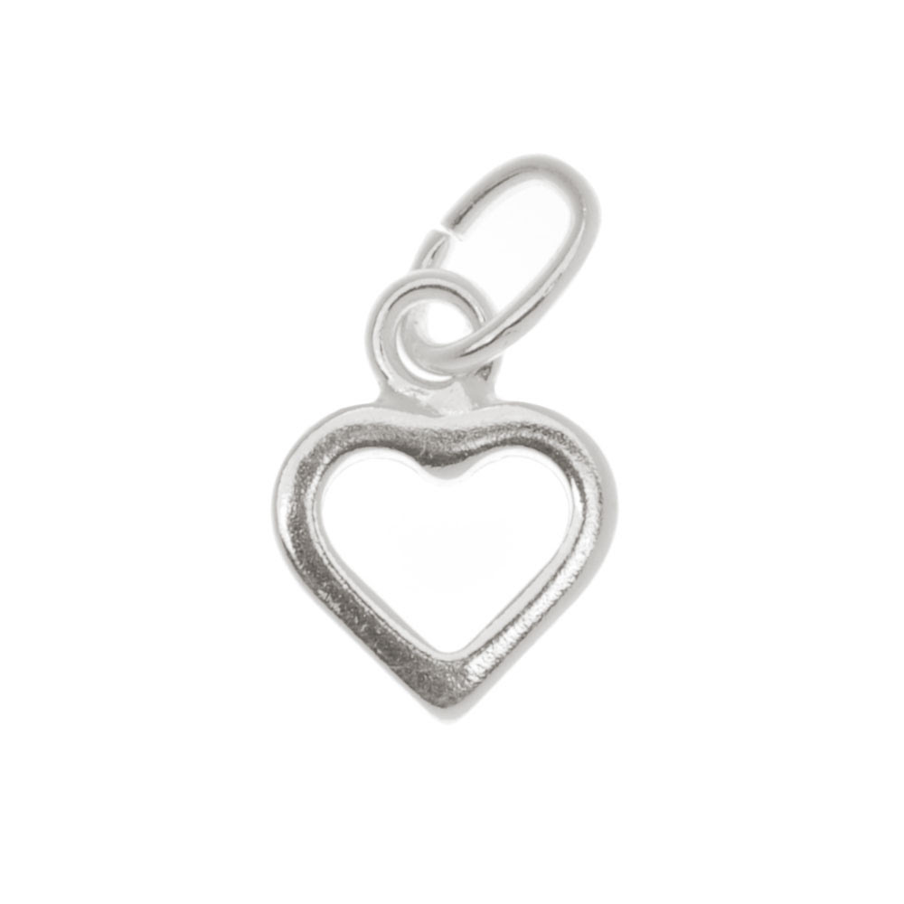 Sterling Silver Sleek Tiny Open Heart Charm 9mm (1)