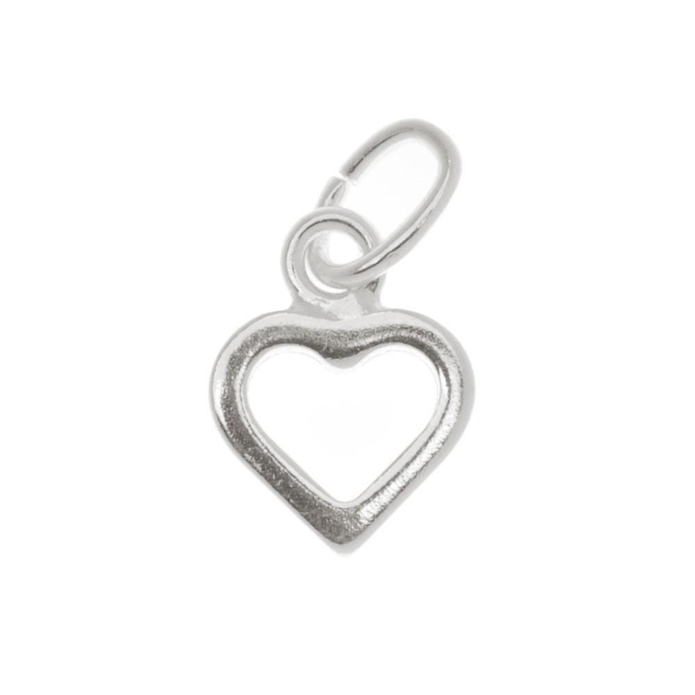Sterling Silver Sleek Tiny Open Heart Charm 9mm (1)