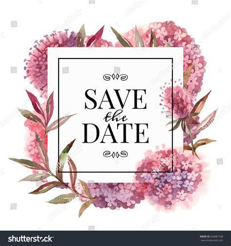 Wedding Invitation Card Watercolor Flowers Vector Stock