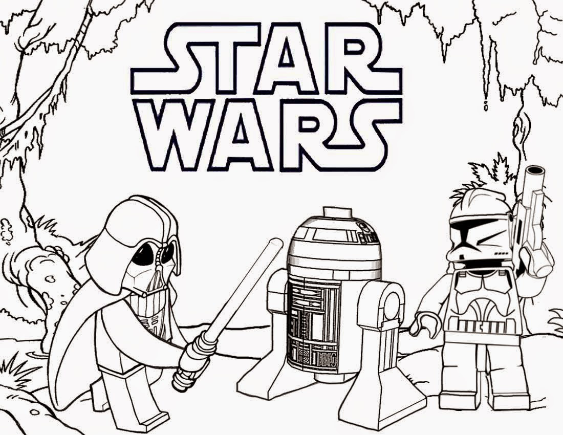 Lego Star Wars Coloring Pages Darth Vader and R2