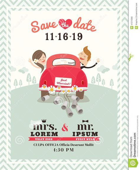 Just Married Car Wedding Invitation Design Stock Vector