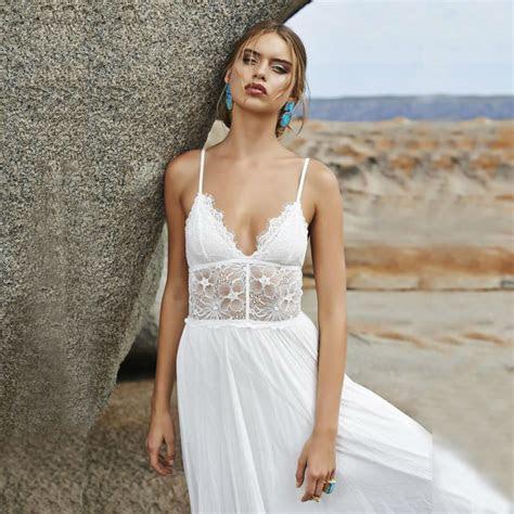 Bohemian Style Wedding Dress V Neck Spaghetti Straps Beach