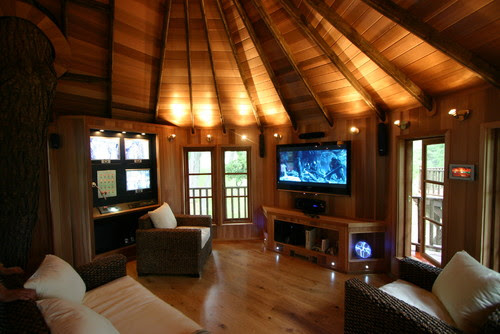 Blue Forest Tree House  living room