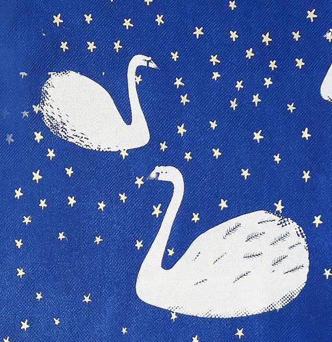 Swan Scarf - Blue. Detail.
