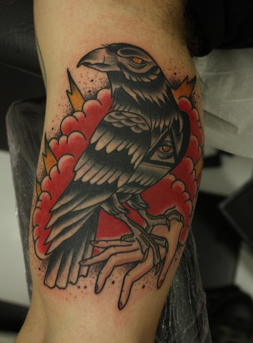 Traditional Crow Tattoo On Bicep