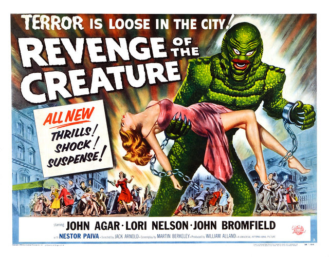 Reynold Brown - Revenge of the Creature (Universal International, 1955). Title Lobby Card
