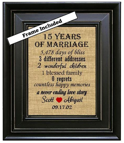 FRAMED 15th Wedding Anniversary/15th Anniversary Gifts/15th