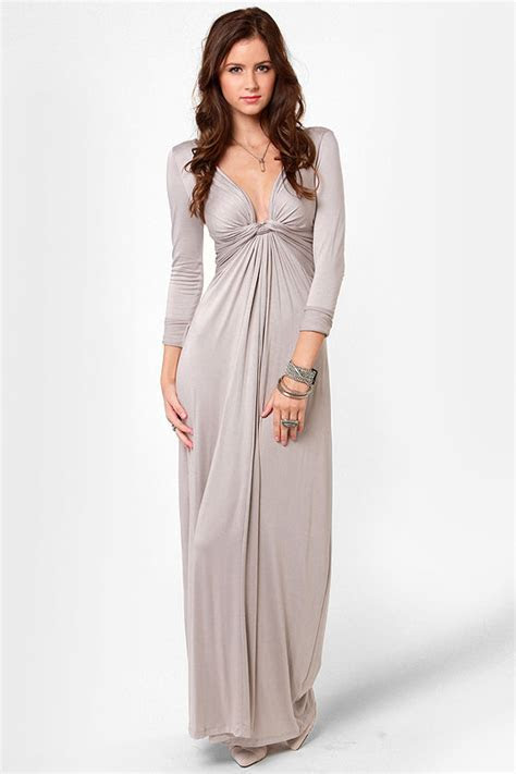 Cute Light Grey Dress   Maxi Dress   Long Sleeve Dress