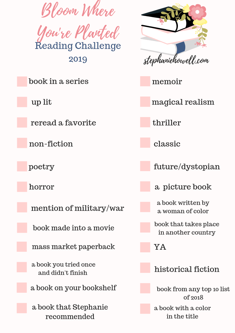 Bloom Where You're Planted 2019 Reading Challenge // via Stephanie Howell