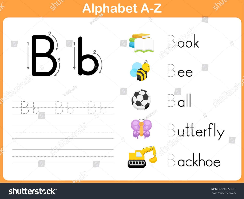 Alphabet Tracing Worksheet Writing Az Stock Vector 214050403 ...