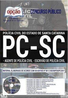 Apostila PC-SC Agente de Polícia Civil PDF 2017 grátis CD ROM