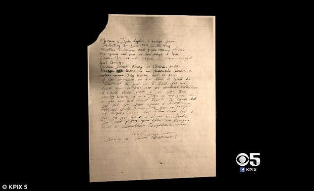A handwritten letter claiming to be from 1962 Alcatraz escapee John Anglin, was sent to authorities in 2013 but only made public this week (above)