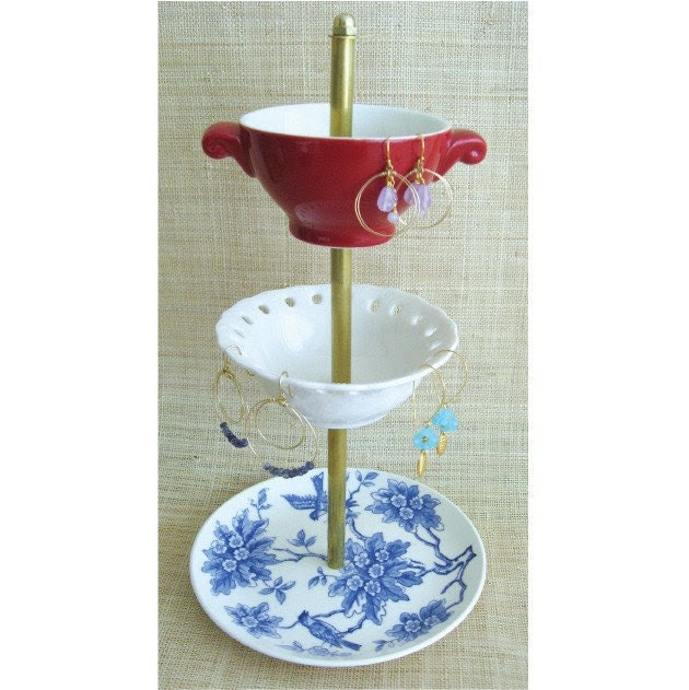 NEW ITEM beautiful red, white and blue 3- tiered antique jewelry stand