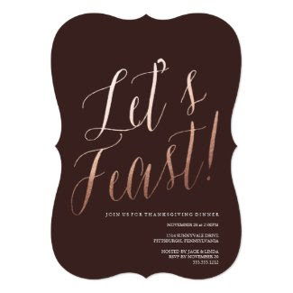 LET'S FEAST thanksgiving dinner invitation