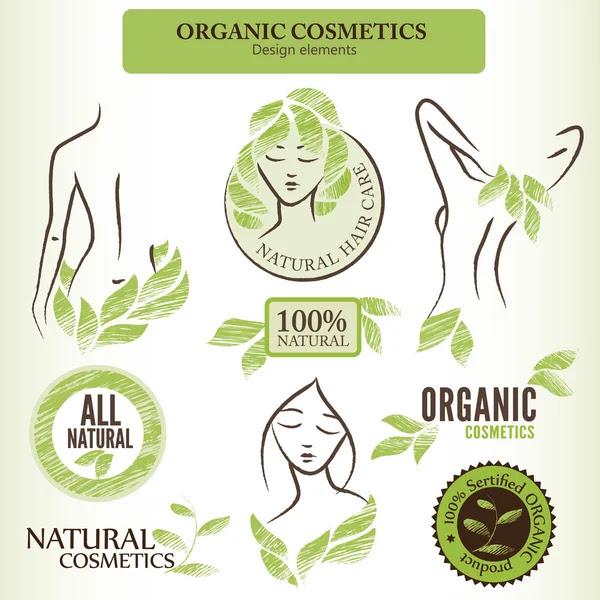 Elementos de diseño de cosméticos orgánicos con formas contorneadas y mano — Vector de stock #65110463