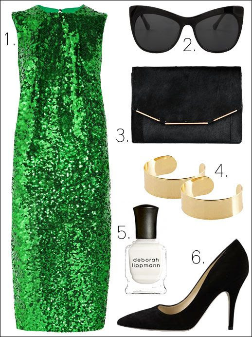 OUTFIT COLLAGE INSPIRATION LE FASHION Amukaji Sequined GREEN POISON IVY Gown By Malene Birger Lafayette Cat Eye Sunglasses Elizabeth & James Calf hair clutch Lanvin Thin Smooth Gold Cuffs ASOS Nail Polish Deborah Lippmann Suede Pumps Kate Spade