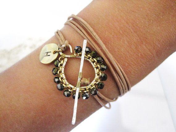Leather Wrap Bracelet  or Necklace- Charm Bracelet- Leather Necklace- Leather Bracelet- Charm Bracelet- Monogram Bracelet- Initial Jewelry