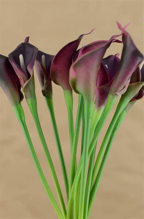 Natural Touch Deep Purple Calla Lilies Mini Bouquet 12 Flowers