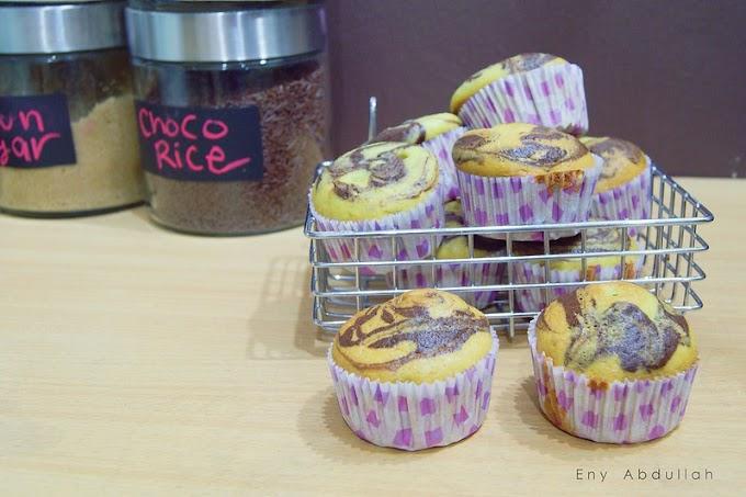 Pandan Chocolate Marble Cupcake