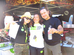 Oxfam volunteers Megan, Danna and Jerome.