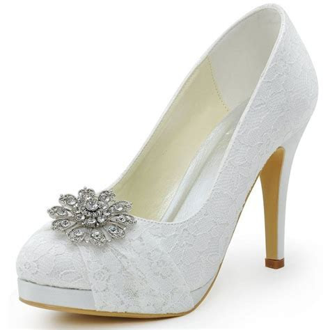 White Bridal Shoes Lace Heels Rhinestone Pumps with