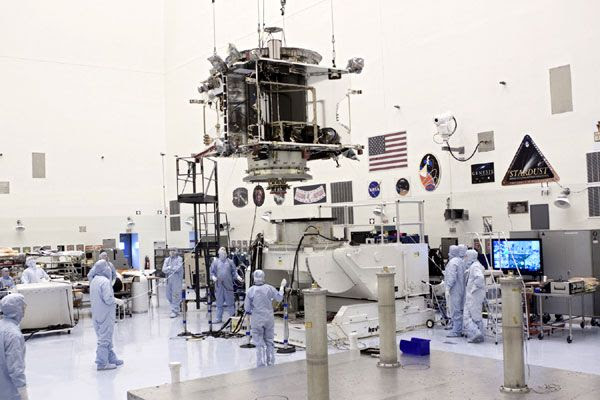 Testing and launch preparations continue on the MAVEN spacecraft inside the Payload Hazardous Servicing Facility at NASA's Kennedy Space Center in Florida...on August 21, 2013.