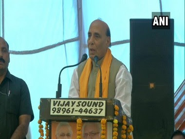 Defence Minister Rajnath Singh addressing a public rally in Haryana's Karnal on Sunday. ANI