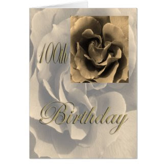 Sepia Rose Happy 100th Birthday Greeting Card