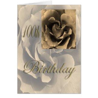 Sepia Rose Happy 100th Birthday Greeting Card