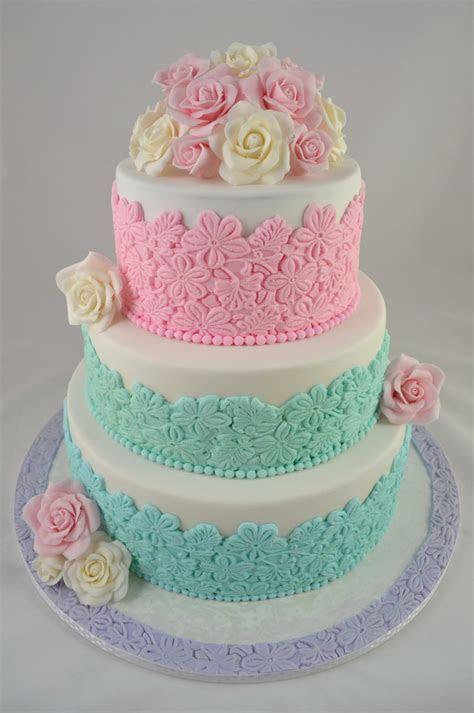 Pastel Floral Wedding Cake   CakeCentral.com