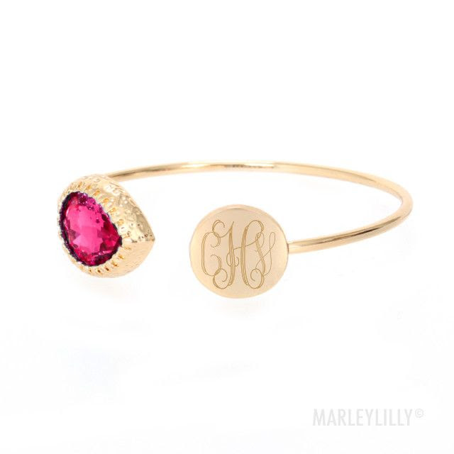 Monogrammed Teardrop Stone Bracelet | Marleylilly