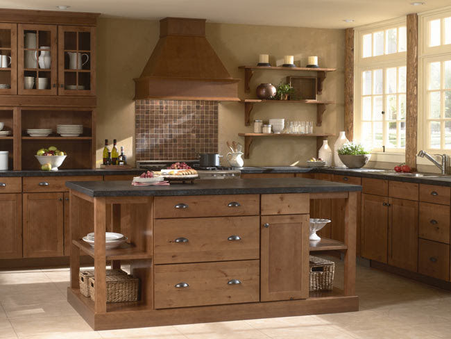 Mid Continent Cabinetry Concord Rustic Alder Harvest Lifestyle Kitchens Baths