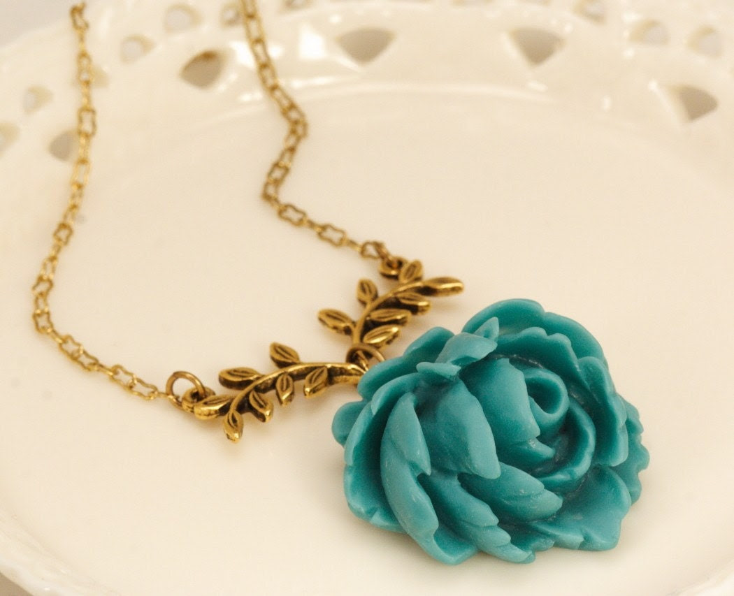 Free Shipping - Turquoise Rose and Gold Fern Necklace