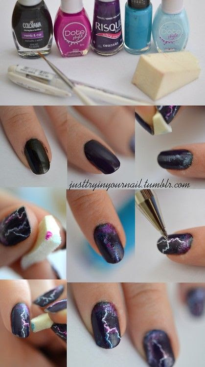 Lightning Nails Tutorial  check this out @Alicia Silverthorn
