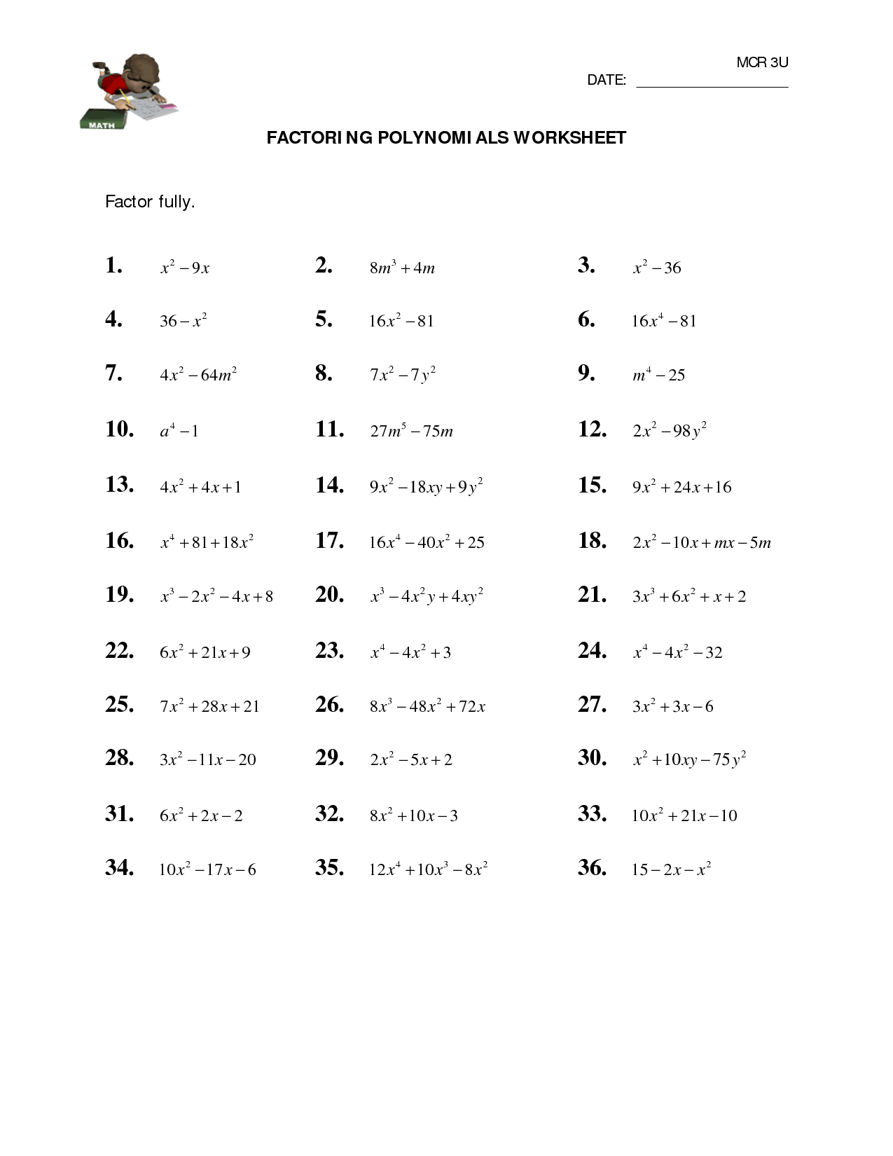 32 Factoring Polynomials Worksheet With Answers Worksheet Resource Plans